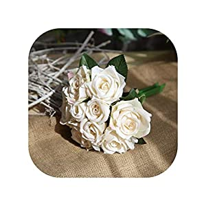 meiguiyuan Wedding Bouquet Polyester Roses Holder Wedding Flowers Bridal Bouquets Artificial Bridesmaids Accessories Wedding Bouquet,Milk White 69