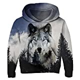 Uideazone Teens Boys Girls Casual Graphic Print Forest Wolf Hoodie Sweatshirts Coat