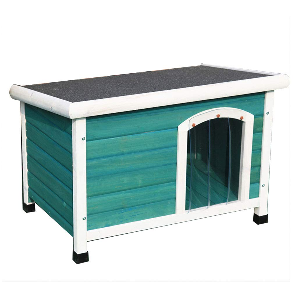 Green YANQ Flat Top Outdoor Rainproof Solid Wood Doghouse Teddy Small And Medium Dog House Waterproof Kennel Pet House Outdoor (color   Green)