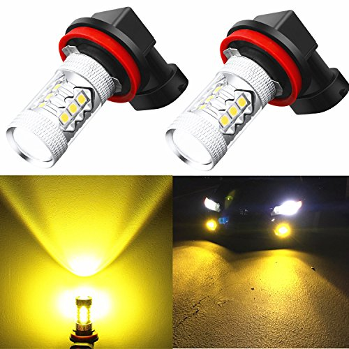 Alla Lighting Super Bright H11 LED Fog Lights 2000 Lumens High Power 3030-SMD LED H11 3000K Yellow H11LL H8LL H8 H16 H11 LED Bulb H11 Yellow Fog Lights Lamp Bulbs Replacement w/Projector (Set of 2)