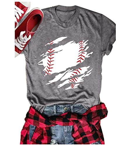 Baseball Mom Shirts Women Novelty Casual Short Sleeve Blouse Tees Top for Game Day Size S (Gray)