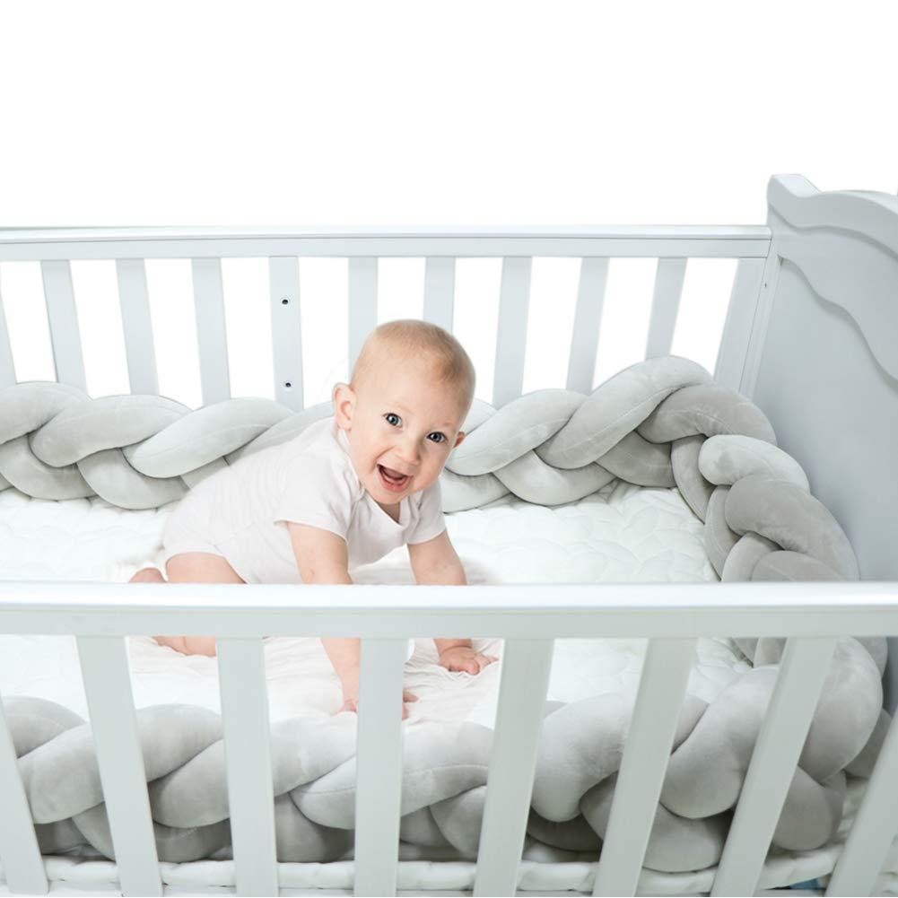 Braided Crib Bumper Grey Guards Baby Braided Knot Crib Bumper Liner Multifunctional Leg Pillow Stroller Cushion (Gray, 4 Meters/158 Inch)