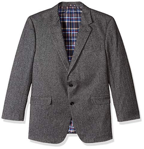 U.S. Polo Assn. Men's Portly Wool Blend Sport Coat, Grey Herringbone, 42 Regular