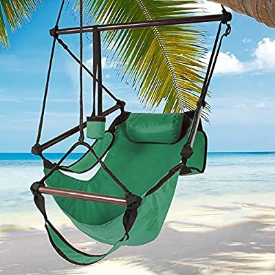 Best Choice Products Hammock Hanging Chair Air Deluxe Sky Outdoor Chair Solid Wood 250lb - Green: Garden & Outdoor
