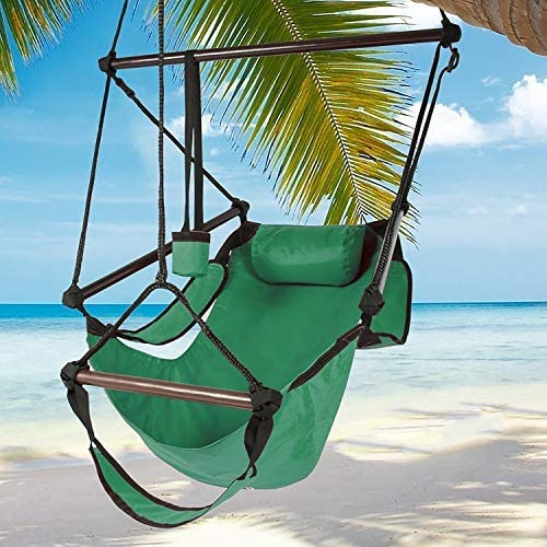 Best Choice Products Hammock Hanging Chair Air Deluxe - Green - 250 lbs Weight Capacity