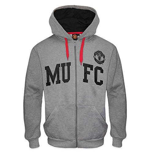 Manchester United FC Official Soccer Gift Mens Fleece Hoody Grey MUFC Small