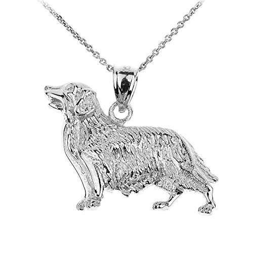 - Polished 925 Sterling Silver Golden Retriever Dog Pendant Necklace, 18