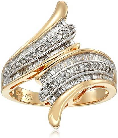 18k Yellow Gold over Sterling Silver Diamond Ring (1/2cttw, I-J Color, I2-I3 Clarity), Size 7