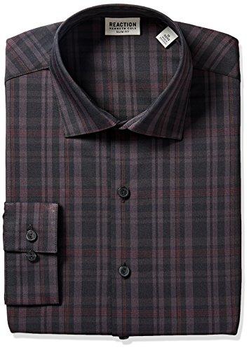 Kenneth Cole REACTION Men's Technicole Slim Fit Dress Shirt, Garnet, 15