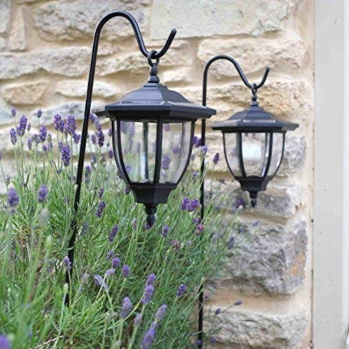 Garden Mile ® Pack Of 2 Black Shepherds Crook Hanging Victorian Coach Lamp Lantern Solar Lights LED Lights Solar Lights Post Lights Traditional Outdoor Garden Lighting (1) Garden Mile®