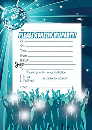 disco party invites pack of 20 with envelopes - Disco Party Invitations