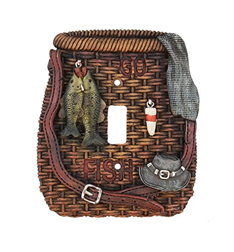 Fishing Single Wall Switch Plate Electrical Cover Wicker Creel Bass Trout Perch Walleye - Single Fish