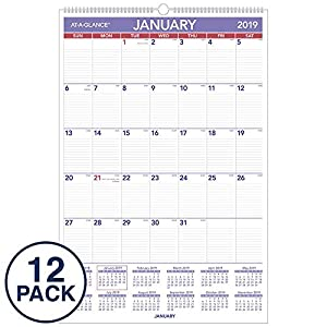 "AT-A-GLANCE 2019 Monthly Wall Calendars, 20"" x 30"", XLarge, Wirebound, 12 Pack (PM4Z28)"