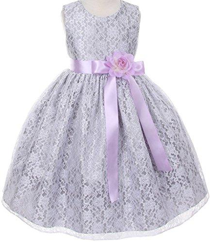 Lilac Cummerbund (Big Girls' Silver Dress Lace Custom Ribbon Flowers Girls Dresses Lilac Lilac 10)