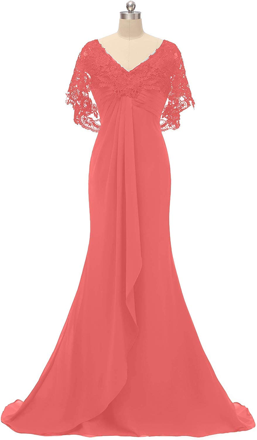 fa37cc046f3e2 ... Lace Chiffon Long Prom Evening Dress Mother of The Bride Dresses  Wedding Gown Coral US24W. ; 