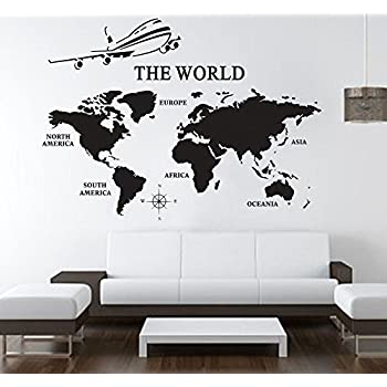 Amazoncom Large World Map Wall Decals Vinyl Art Sticker World Map - World map wallpaper decal