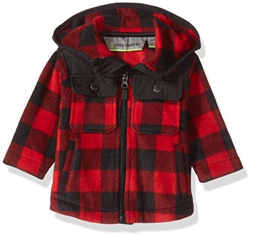 - Free Country Baby Boys Toddler Buffalo Plaid Fleece Hoody, Crimson Red, 12 MOS