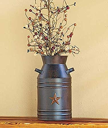 Simple Rustic Primitive Milk Can Vase Container With Barn Star Country Home Decor With Country Stars Decorations For The Home
