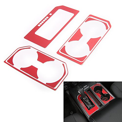 Cab Gear Shift and Cup Holder Decorative Sheet Kit Interior Accessories for Ford F150 2016 2017 (Red)