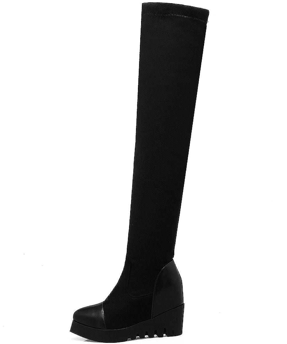 Unbekannt Lang Stiefel Damen Elastisch Plateau Erhöhte Keilabsatz Schwarz Herbst Winter Overknees Stiefel von Bigtree 37 EU SQAdi1psx