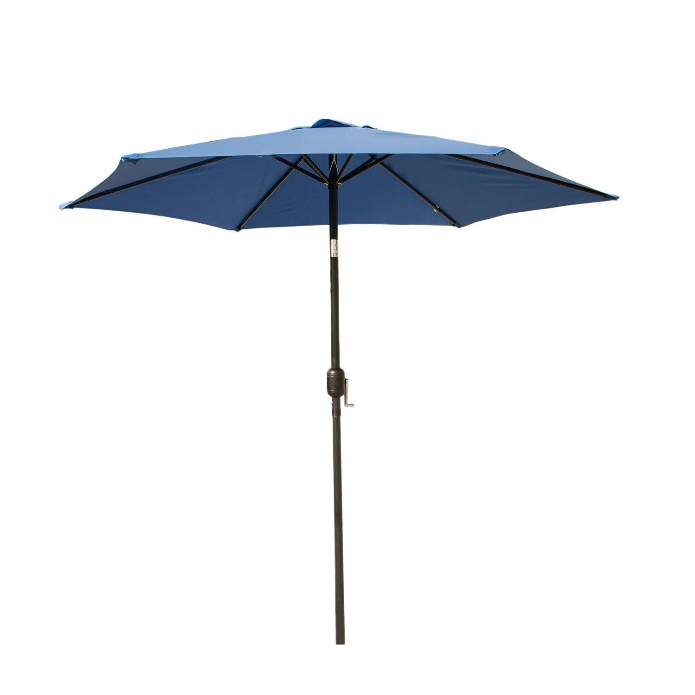 8Ft 9Ft 10Ft Outdoor Patio Umbrella Market Table Yard Garden w/Crank Tilt Shade (Blue, 9 Ft)