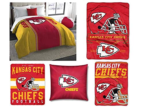 Northwest NFL Kansas City Chiefs 5pc Bedding Set: Includes (1) Twin/Full Comforter, (1) Blanket, (2) Throws, and (1) Toss Pillow