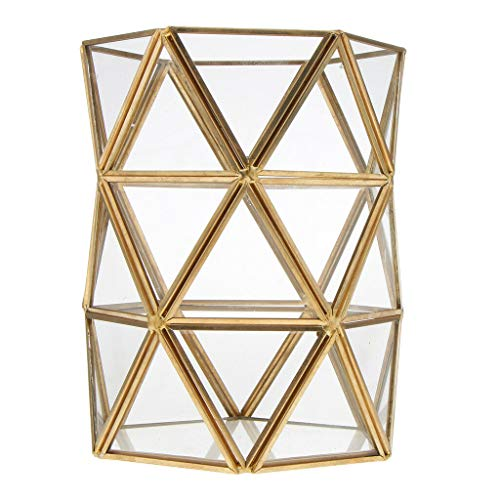 BROSCO Height Indoor Tabletop Glass Geometric Container Flower Box Storage Bucket