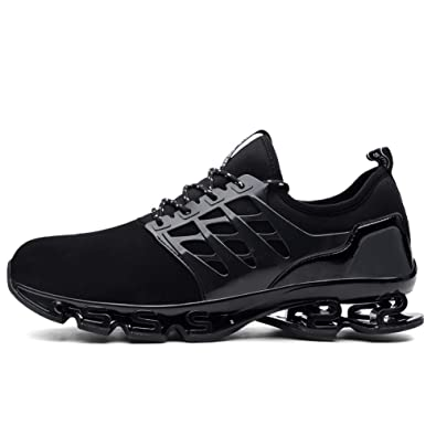 00cb0f44611350 Nishiguang Women and Men Walking Sneakers Slip on Blade Outdoor Sport  Casual Shoes Black 48