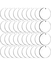 Duufin 40 Pieces Acrylic Transparent Keychain Blanks Round Acrylic Circles Clear Disc Ornaments Blanks with Hole for DIY Keychain and Craft Project, 3 Inch