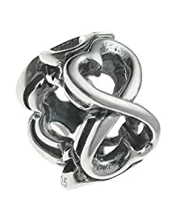 Queenberry Sterling Silver Endless Love Heart Valentine European Style Bead Charm
