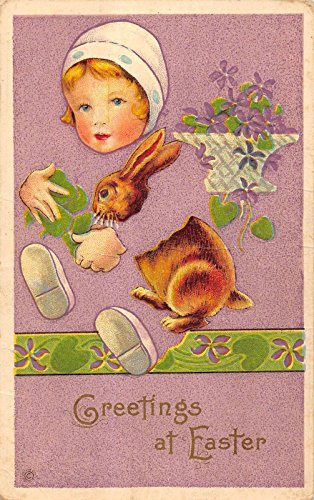Easter Greetings young girl holding bunny flowers behind her antique pc Y8132