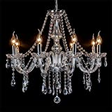 Anjeet Modern Clear Crystal Chandelier Lighting Fixture Pendant Ceiling Lamp for Study Room, Dining Room, Bedroom, Living Room (8 Bulbs) For Sale