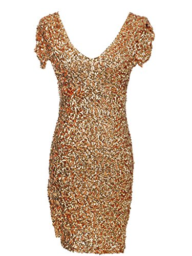 Anna-Kaci Womens Sexy Sparkly Glitter Sequin V Neck Bodycon Mini Party Dress, Gold Large (Gold Glitter Shirt)