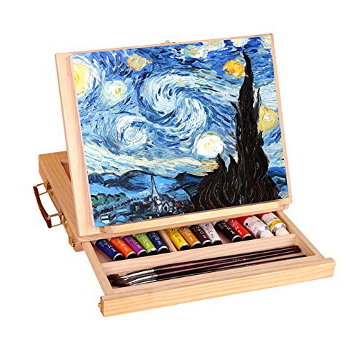 Display Artist Easel Adjustable Wood Desk Table Easel with Storage Drawer, Paint Palette, Premium Pine - Portable Wooden Artist Desktop, Board for Canvas, Painting, Drawing Sketching Book - Easel Palette