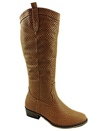 Tan Knee Cowboy Snakeskin Length Boots Faux w1Zq61F