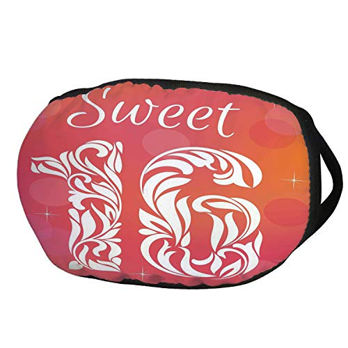 (Fashion Cotton Antidust Face Mouth Mask,16th Birthday Decorations,Greeting Happy Birth Pattern with Classic Effects Artwork,Dark Coral Scarlet,for women & men)