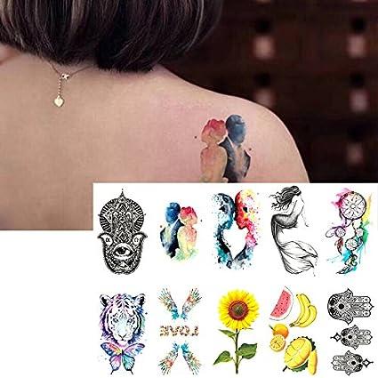 Oottati 10 Hojas Pequeñas Cute Dedo Tatuajes Temporales Mano ...