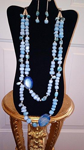 Blue Sapphire, Blue Agate Blue Jasper Necklace
