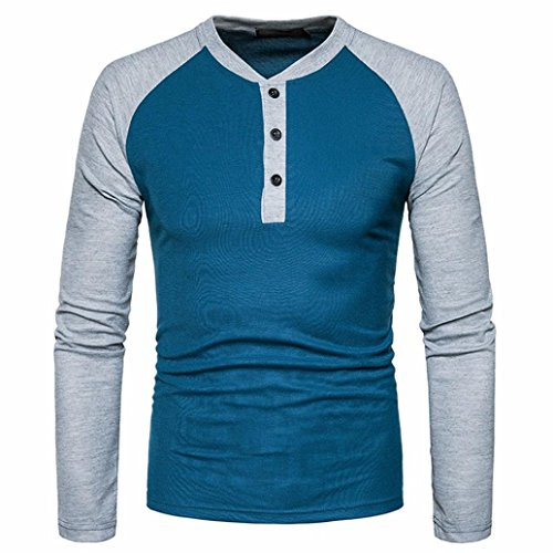 Blouse For Men 2017 ,BeautyVan Mens' 2017 New Design Mens Casual Long Sleeve Shirt Slim Fit Shirt V Neck Patchwork Blouse Top (S, Blue)