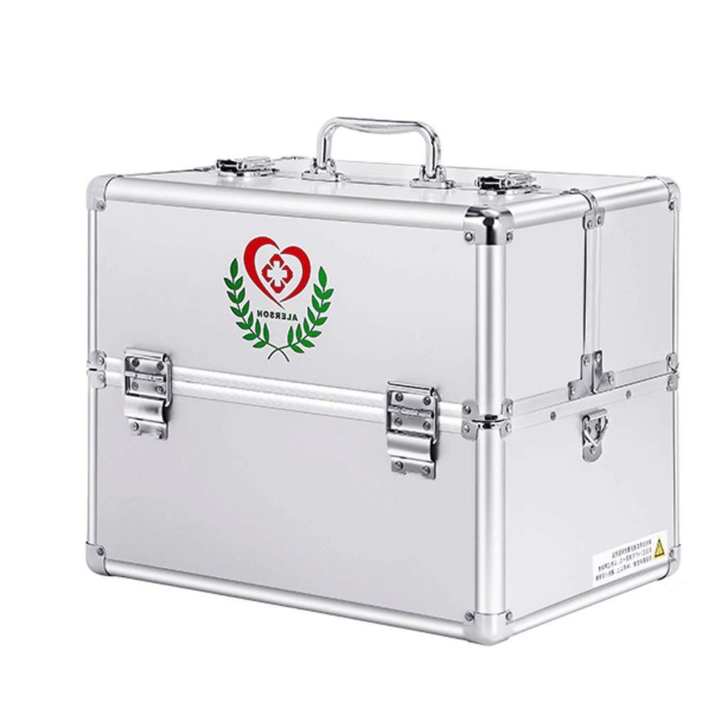 薬箱アルミ合金30 * 21.7 * 24 cm / 36 * 25 * 29 cm家庭用薬箱薬外来応急処置医療箱収納ボックス (色 : シルバー しるば゜, サイズ さいず : L36CM) L36CM シルバー しるば゜ B07QN1YWH9