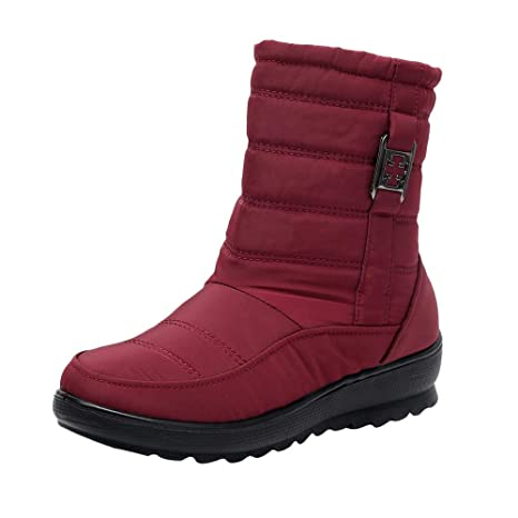 ZHRUI Botas para mujer, botas clásicas para mantener la nieve cálidas Botas con forro polar