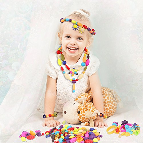 Zooawa Pop Snap Beads Set, DIY Jewelry Creative Kits for Girls Making Necklace, Earings, Bracelets and Rings, [200 Pcs] Crafts Gift for 3+ Kids by Zooawa