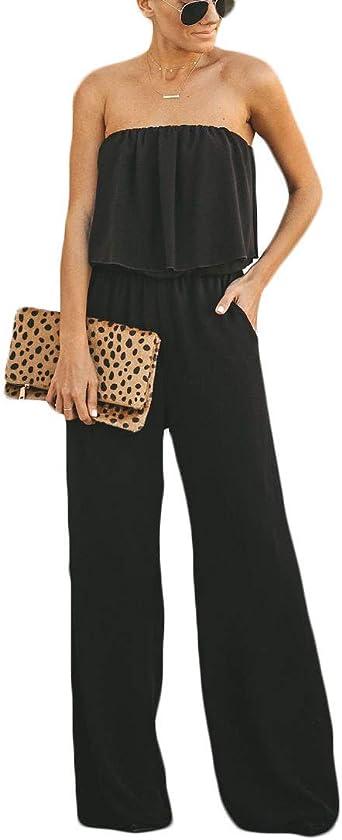 Cardigo Women Casual Strapless Sleeveless Jumpsuit Waist Solid Color Jumpsuit Pants