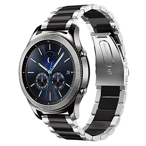 Shangpule Compatible Gear S3 Bands, Galaxy Watch 46mm Bands, 22mm Stainless Steel Metal Replacement Strap Bracelet Compatible Samsung Gear S3 Classic and S3 Frontier Smartwatch (Silver + Black)