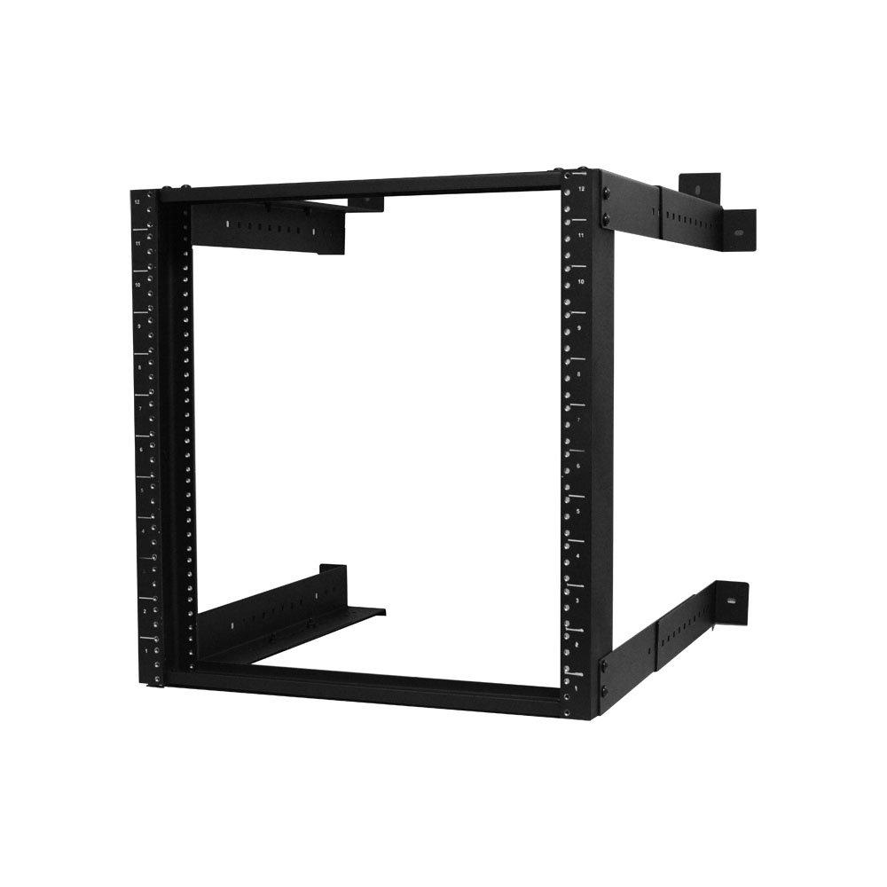 Quest Manufacturing Open Frame Wall Rack, 12 Unit, 2' x 18''-26''D x 26''D, Black (WR1921-12-02)