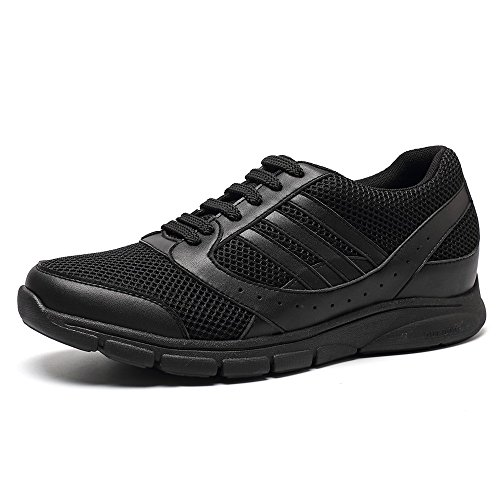 CHAMARIPA Mens Elevator height Increasing Shoes - Black Light Weight Sneakers - Taller 2.76 inches X63B19 Black YLvBELN