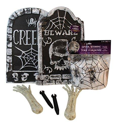 5 Pc Halloween Tombstone, Skeleton Hands, Spider Web Bundle Indoor/outdoor Yard Party (Trick Or Trunk)