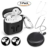 AirPods Case Protective Silicone Cover with 2 Airpods Strap, 2 Airpods Ear Hook,1 Carabiner,1 Headphone Case for Apple Airpods Accessories (7 Pack)-(Black)