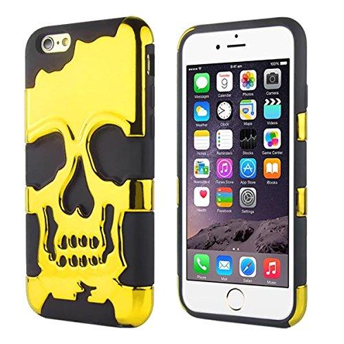 "Apple iPhone 6 4.7"" Silikon PC Case Skull Totenschädel Pirat Cover Hülle Gold"