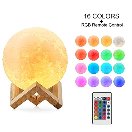 Moon Lamp 16 Colors RGB Moon Lamp 3.1in Moon Light Lamps by Smartinnov Touch Control 3D Moon Lamp Baby Gifts for Newborn Girls Unique